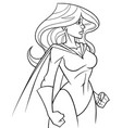 superheroine side profile line art vector image vector image