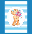 teddy girl with bouquet spring flowers in frame vector image vector image