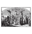 the crucifixion of jesus with two robbers vintage vector image vector image