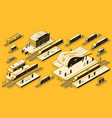train station with locomotive isometric set vector image