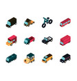 transport car truck vehicles isometric icons set vector image vector image