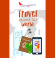 traveling abroad flyer poster with text vector image vector image