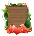 Valentine hearts on wooden background vector image