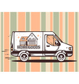 van free and fast delivering home goods t vector image