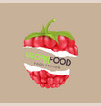 vegan food station raspberry background ima vector image vector image