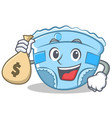 with money bag baby diaper character cartoon vector image