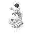 woman book glance vintage engraving vector image vector image