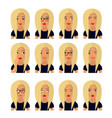 woman with blond hair and emotions user icons vector image