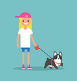 young smiling blond girl walking the dog flat vector image
