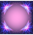 Decorative frame with violet flower vector image