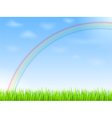 Rainbow in blue sky vector image