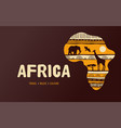 africa patterned map banner with tribal vector image vector image