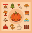 autumn season weather line and fill icons set vector image vector image