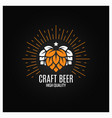 beer hops logo on black background vector image vector image