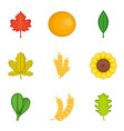 bloom icons set cartoon style vector image vector image