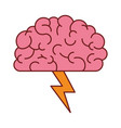 brain in side view with lightning in colorful vector image