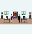 business woman and businessman talking in office vector image