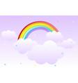 cartoon background with rainbow in sky vector image