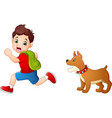 cartoon schoolboy running away from angry dog vector image