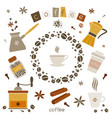 collection of coffee design elements vector image vector image