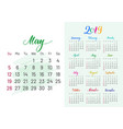 colorful planner 2019 may separately vector image vector image