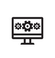 computer with gears - business black icon vector image