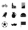 Country Holland icons set simple style vector image vector image