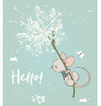 cute birthday mouse flying with flowers vector image vector image