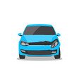 damaged blue car front view vector image vector image