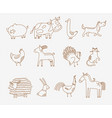 flat cute farm animals vector image