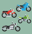 flat design motorcycle set vector image vector image