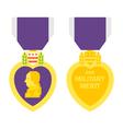 Flat design purple heart medal vector image vector image