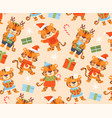 funny cute tigers background vector image vector image