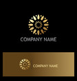 gold flower circle company logo vector image