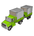 green container truck with trailer on white vector image
