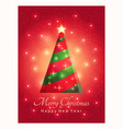 greeting card with a beautiful christmas tree vector image