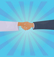 hand shake over comic retro background business vector image vector image