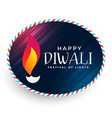 happy diwali diya label design vector image