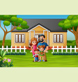 happy family standing in front house vector image vector image