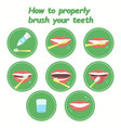 how to property brush your teeth step-by-step vector image vector image