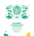 isometric global communication network vector image vector image