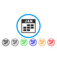january calendar grid rounded icon vector image vector image