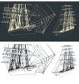 large sailing ship vector image vector image