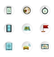 Navigation icons set flat style vector image vector image