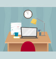 office workplace table with laptop vector image vector image