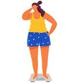 overweight attractive sad woman standing on vector image