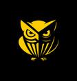 owl logo black background vector image vector image
