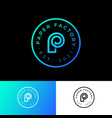 p monogram circle logo paper factory emblem vector image vector image