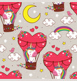 pattern with cute unicorn is flying in a balloon vector image vector image
