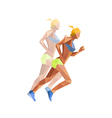 polygonal woman athelette running vector image vector image